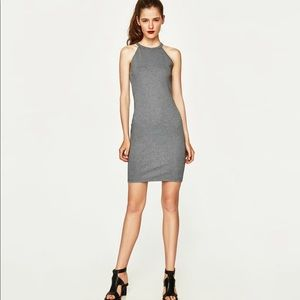 New Zara cotton tank dress gray M NWT
